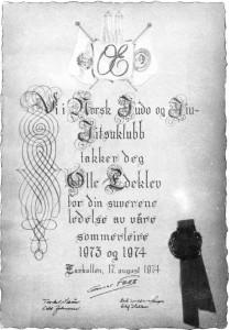 Diplom Olle Edeklem - 1974