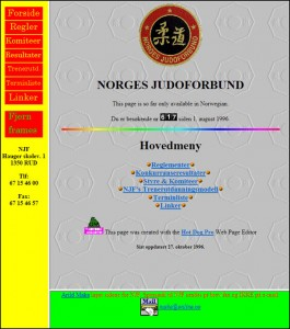 Screenshot av NJFs nettside 27. oktober 1996.