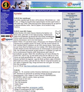 Screenshot av judo.no 16. september 2003.