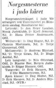 NM 1969 resultater - 18 februar 1969