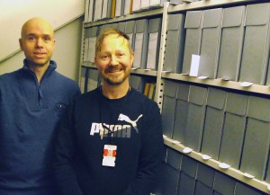 Erik Brastad og Lars Erik Hjorthaug fra Asta på lagret i 5.etg, 20160218-R