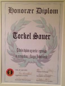 Diplom æresmedlem NJF 2003 - Torkel Sauer
