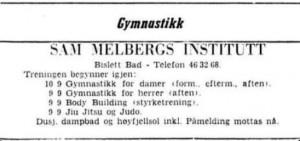 Sam Melbergs institutt - 1956