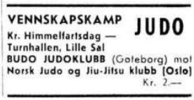 Vennskapskamp NJJK - Budo Gøteborg - 26 mai 1965